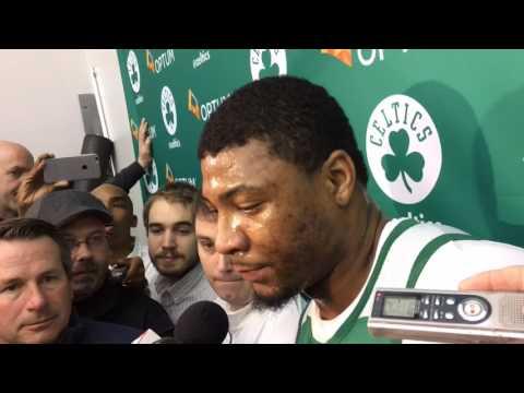 Boston Celtics' Marcus Smart reacts to Jimmy Butler's trash talk