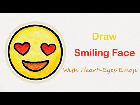 How to draw The Smiling Face With Heart-Eyes emoji | Step by step art for kids