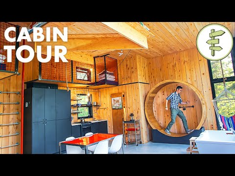 Off-Grid Cabin With Energy Wheel, Floating Bed & Indoor Climbing Wall