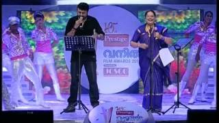 Jayaram singing with Usha Uthup & Dulquar Salman -Vanitha Film Awards 2013