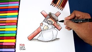 Cómo dibujar a Jesús cargando la Cruz | How to draw Jesus Carrying the Cross