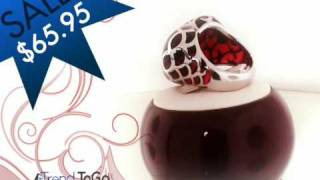 Filigree Red Heart Sterling Silver Ring Thumbnail