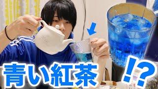 地元に売ってた謎の『青い紅茶』の味は?色が変わる?ミルクティーにしてみる。