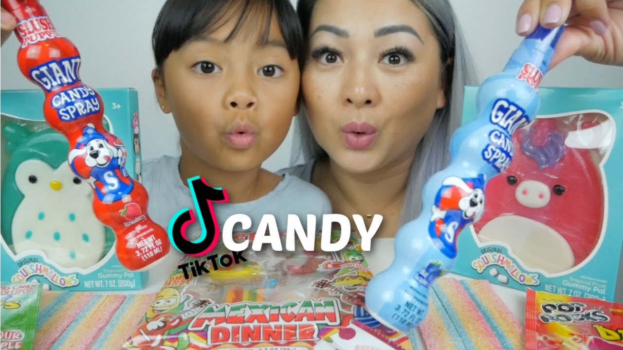 TIK TOK Most Popular Candy * Squishmallows Gummy, Giant Slush Puppie Spray Candy & Rainbow Streamers