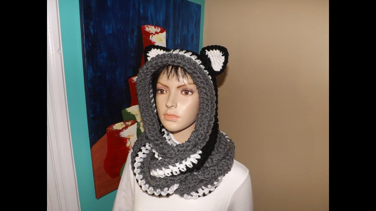 Crochet bufanda circular o infinita con capucha y orejas , con Ruby Stedman , YouTube