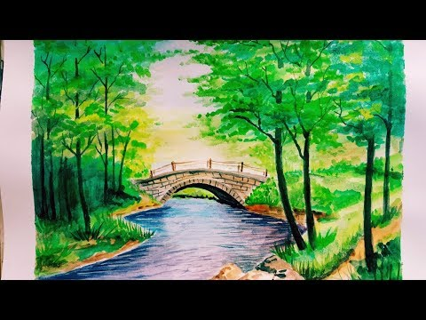 Watercolor Painting |Painting a Simple Bridge Landscape Tutorial Step by Step for Beginners