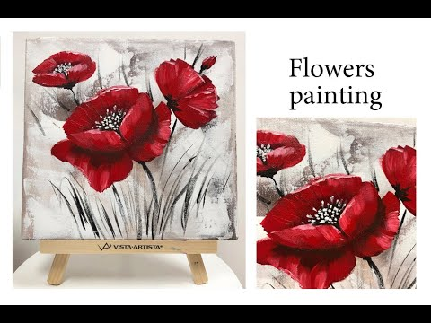 How to paint a Flower on canvas/ Demo /Acrylic Technique on canvas by Julia Kotenko
