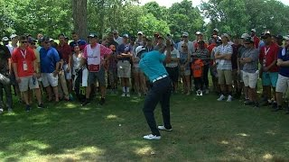 Tiger Woods' adventurous par on No. 2 at Quicken Loans