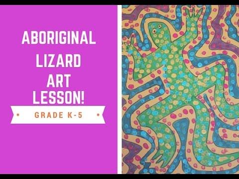 Elementary Art Lesson Aboriginal Lizard Design Youtube