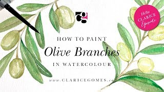 How to Paint Olive Branches in Watercolour - Hello Clarice Tutorials