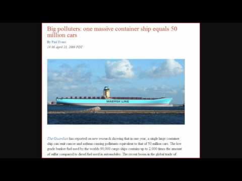 Climate-gate dirty secret - One container ship equals 50 million cars pollution.