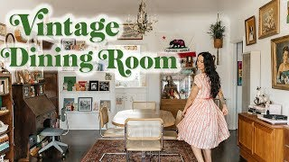 Mid-Century + Boho Dining Room Tour | Emily Vallely's Vintage Apartment