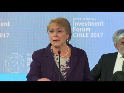 Presidenta Michelle Bachelet en la inauguración del IV International Investment Forum Chile 2017