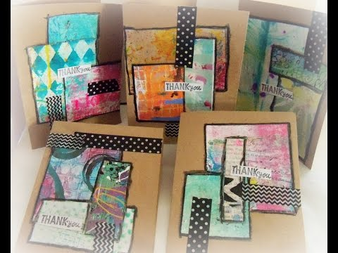 DIY Mixed Media Collage Scrap Paper Cards/ How to make easy mixed media cards