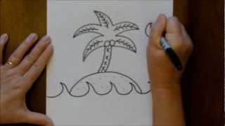 How to Draw an Island with a Palm Tree Step by Step