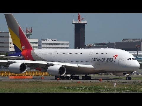 Asiana Airlines Airbus A380 HL7625 Takeoff from NRT 16R