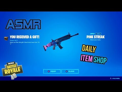 ASMR | Fortnite NEW Pink Streak Wrap Gift! Daily Item Shop Update 🎮🎧 Relaxing Whispering 😴💤