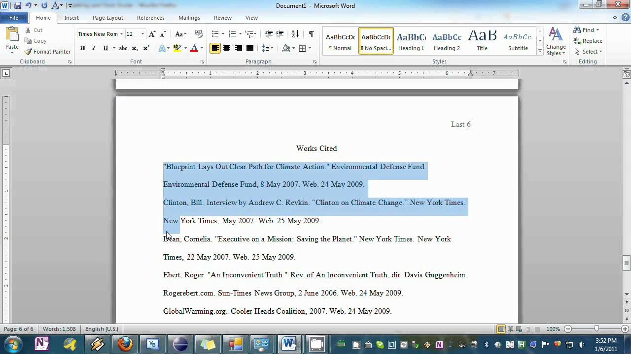 mla template word 2010