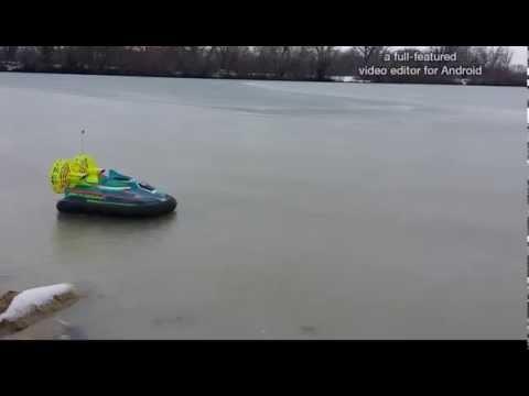 RC Vintage Taiyo Edge Hovercraft slushy lake run