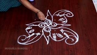 ganesh rangoli with dots 7 to 1 vinayaka chavithi special muggulu dot rangoli for ganesh festival