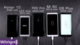 Huawei P20 Pro vs Sony Xperia XZ2 Compact vs Honor 10 vs Xiaomi Mi 6X vs Moto G6 Plus Battery Test