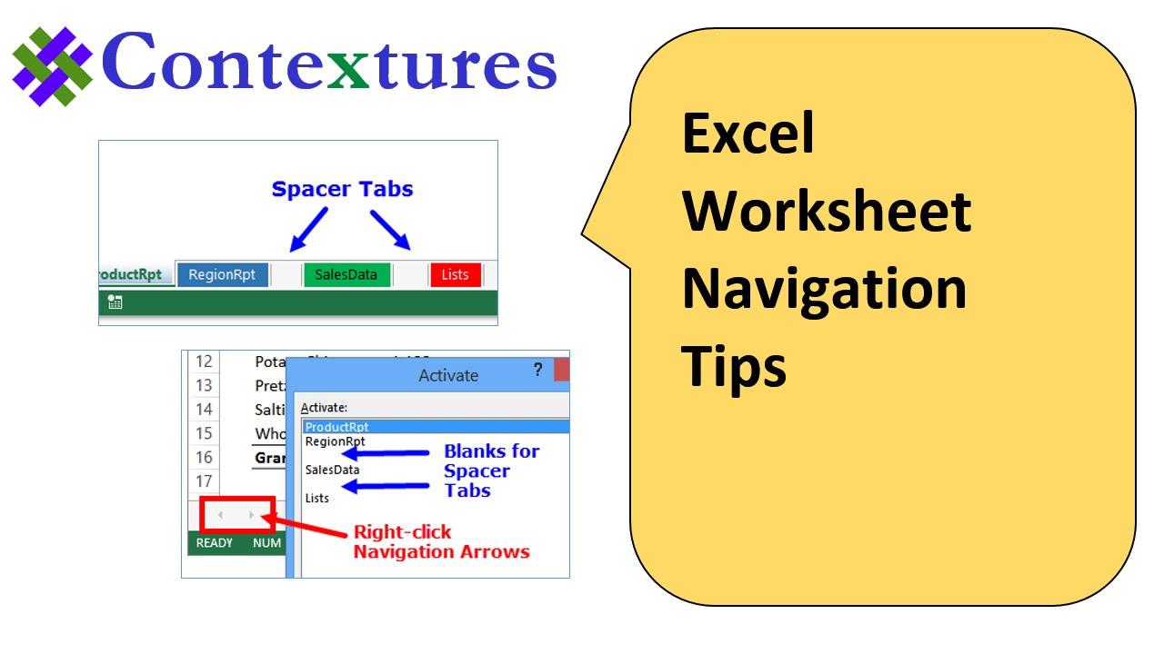 Excel Worksheet Navigation Tips