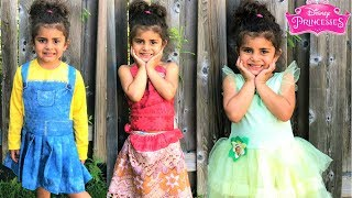 Pretend Play Disney Princess Costumes and DRESS UP in a Real Princess Dresses! kids fun