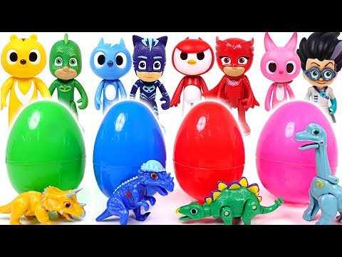 PJ Masks VS Miniforce! Dino Mecard tiny dinosaur surprise eggs battle! - DuDuPopTOY