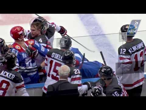 Драка 4 на 4 между Россией и Канадой на Sochi Hockey Open 2017 / Fight: Russia VS Canada