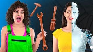PRIETENA MEA E ROBOT | Ciocolată VS. mâncare reală, provocare amuzantă marca 123 GO! CHALLENGE