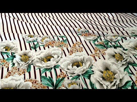 Ткань штапель полоска цветы