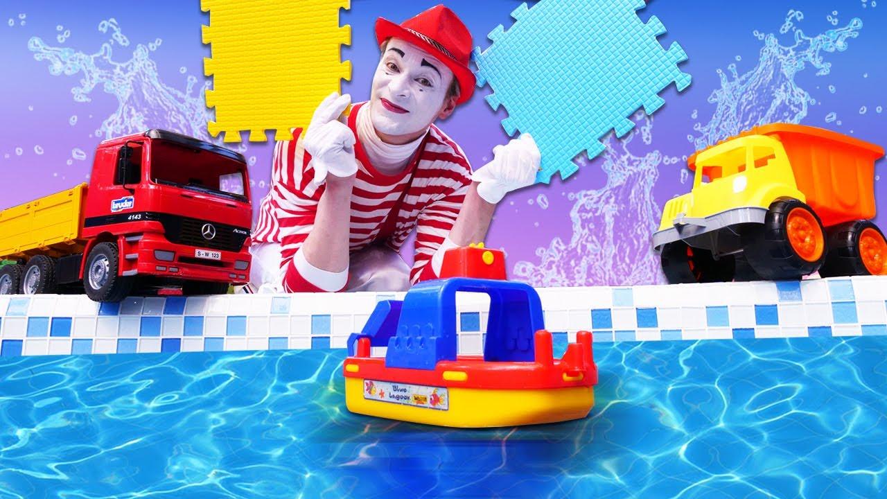 Havuz oyunu! Oyuncak arabalar havuzu geçmeye çalışıyorlar!