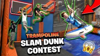 INSANE Trampoline Dunk Contest & Obstacle Course! *Hilarious* Video