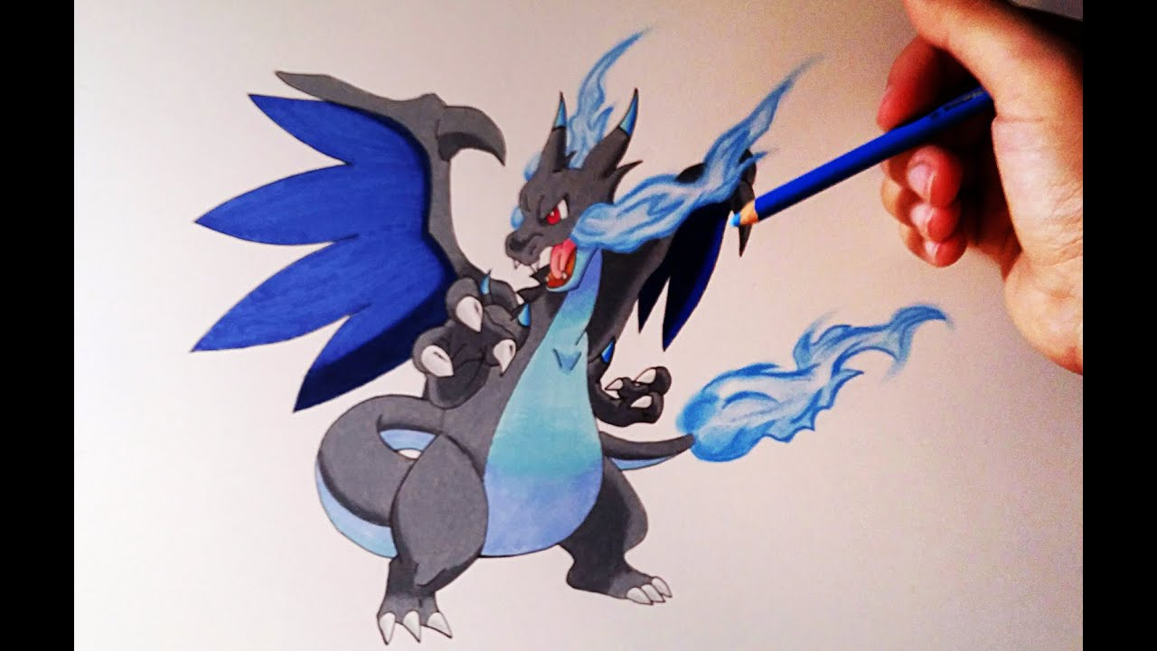 Cómo Dibujar A Mega Charizard X How To Draw Mega Charizard X Pokemon