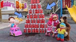 Heidi Maşa ve Caillou Paten Sürüyor Cola Devirmece Oyunu Maşa Koca Ayı Çizgi Film