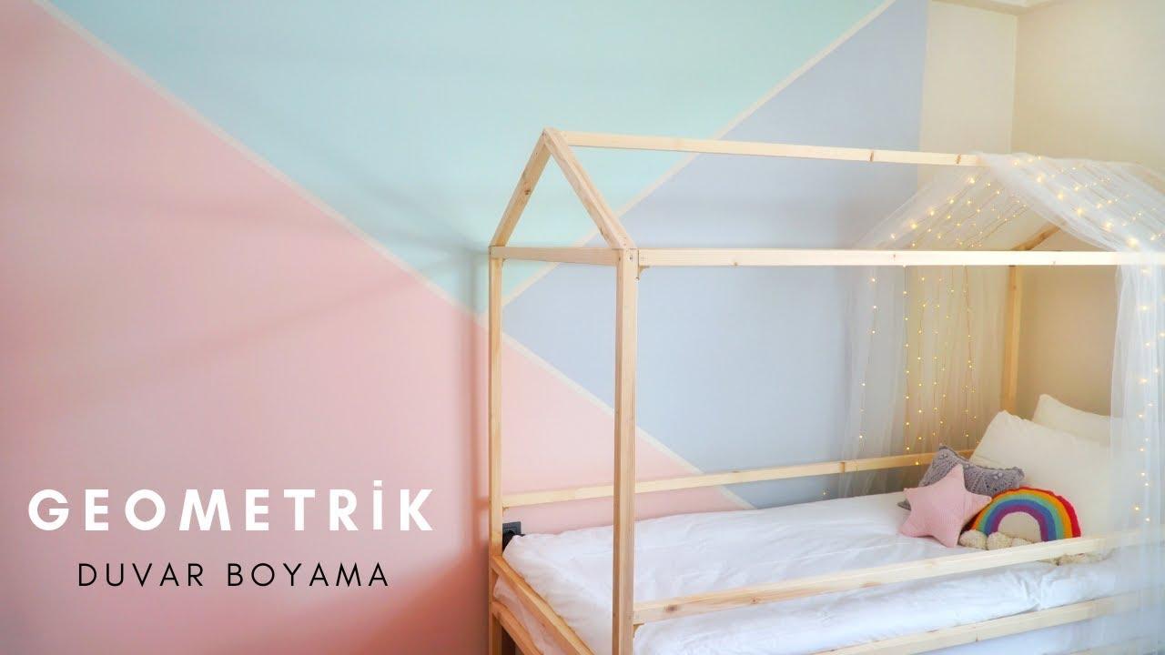 Kizimin Odasinin Duvarini Boyadim Geometric Wall Paint Youtube