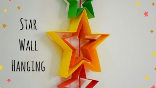 Paper Star Wall Hanging Decor - DIY Origami Paper Star Wall Decor - Room Decor Ideas for Christmas