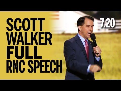 Scott Walker FULL RNC Speech (Powerful) Wednesday July 20 2016 7.20.16