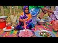 Cow LUNGS Gravy Recipe   Village Style Cow Lung Cutting & Cooking For Kids   Gorur Fusfus Ranna
