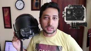 How to mount action cam on Helmet + Moto Vlogging Test on Day Evening Night with sample videos
