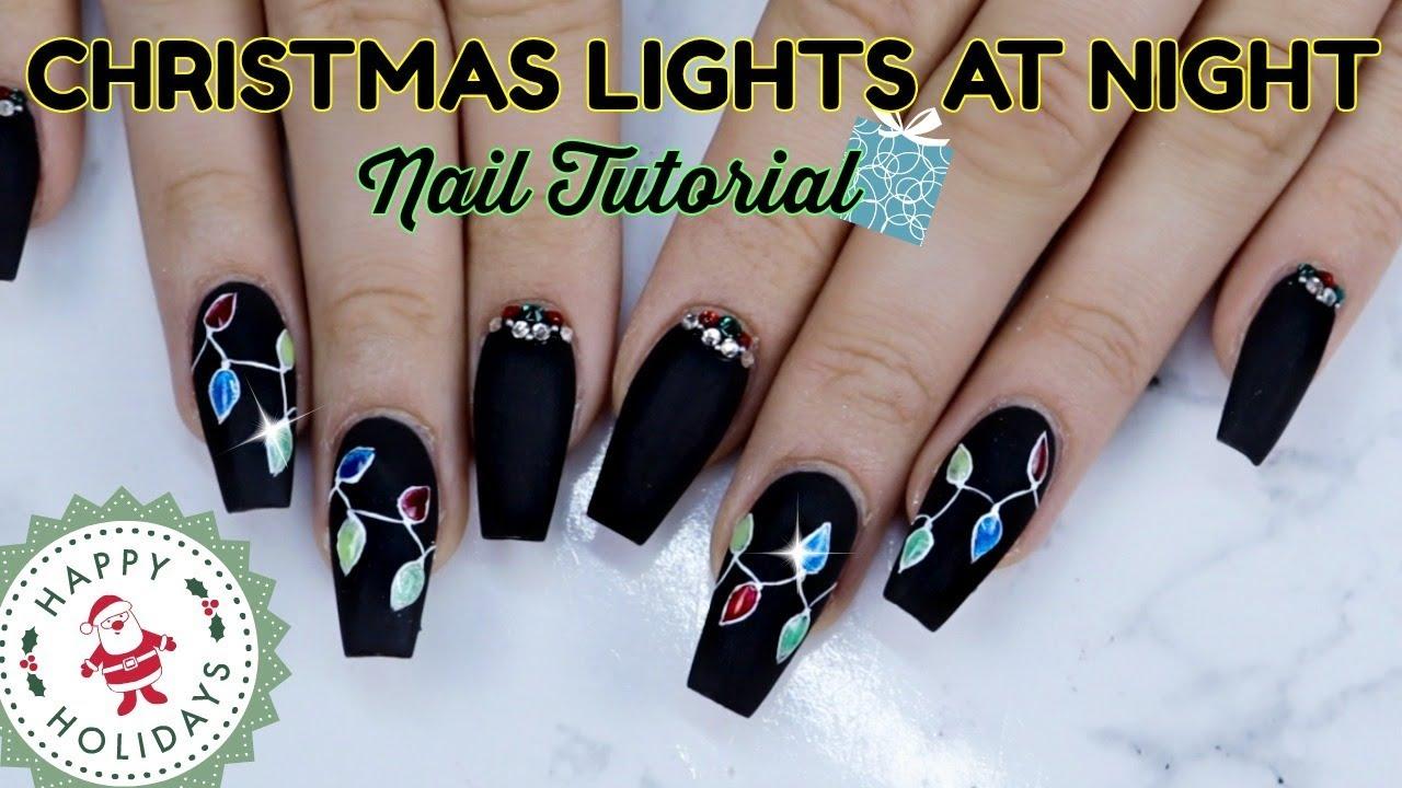 christmas lights nail tutorial gel polish design 3d