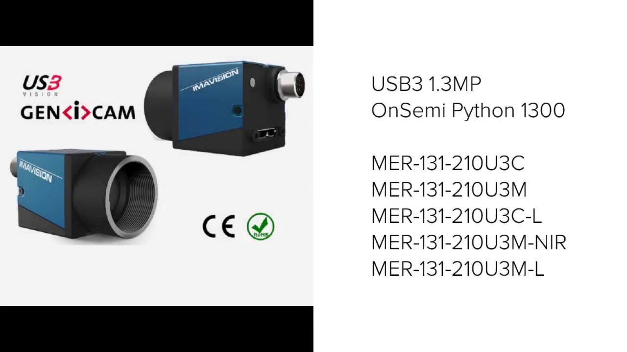 Vision Camera GigE USB3 with Onsemi Python 1300 sensor for industrial  applications