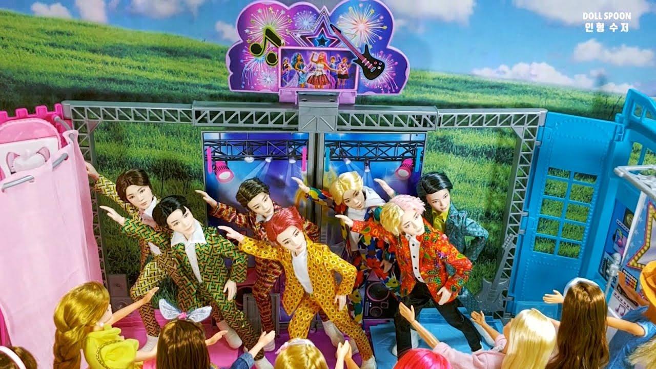 [키덜트인형놀이] 💜바비와 미미의 '방탄 콘서트' 가는 날🏟/ The day Barbie x Mimi goes to the 'BTS Concert'🇰🇷🎉