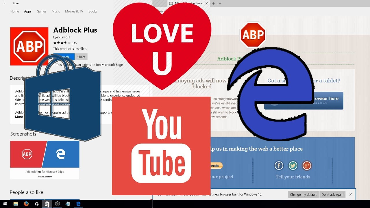 [Adblock Plus] Best Adblock for Microsoft Edge: Extensions by Eyeo GmbH   Please Dont Block Us - YouTube