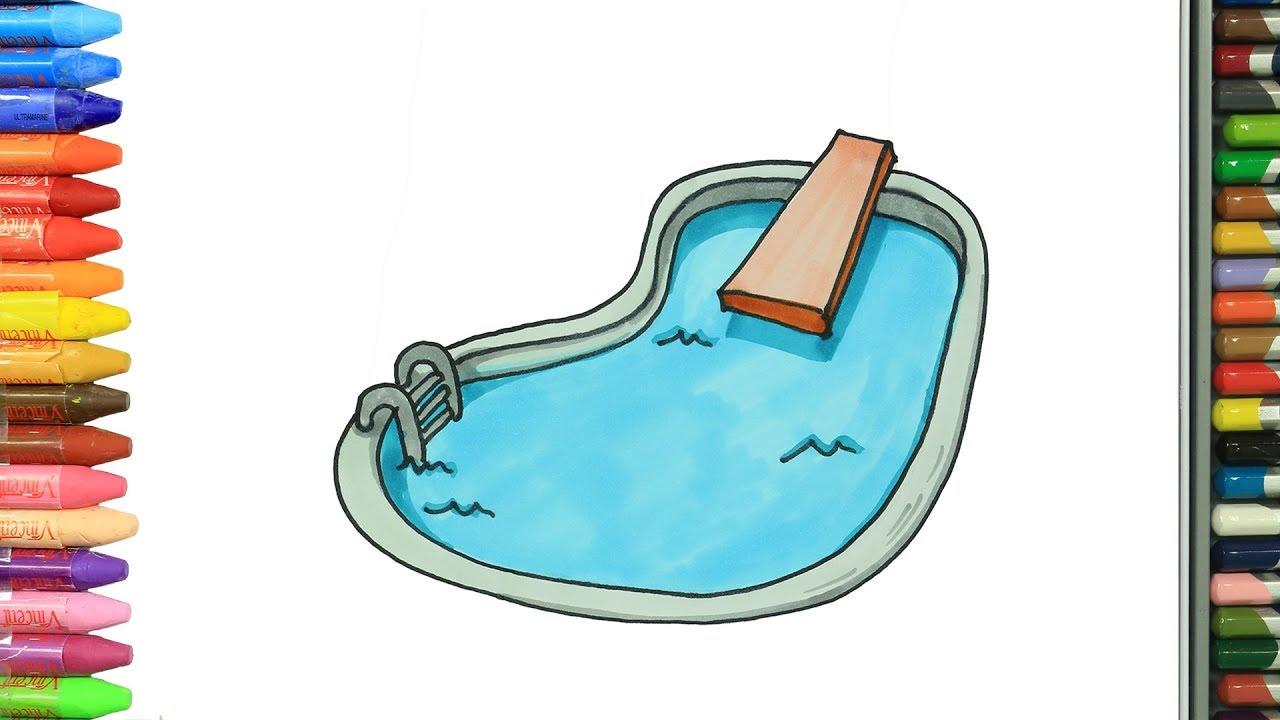 C mo dibujar y colorear piscina dibujos para ni os youtube for Precios de piscinas inflables para ninos