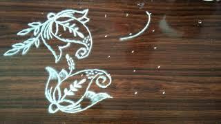 Rangoli designs..flowers..simple N easy...5 to 5 dots