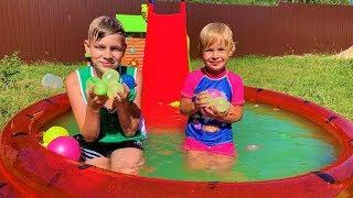 Swimming Pool Song | Eva and Alex Pretend Play Nursery Rhymes & Kids Songs