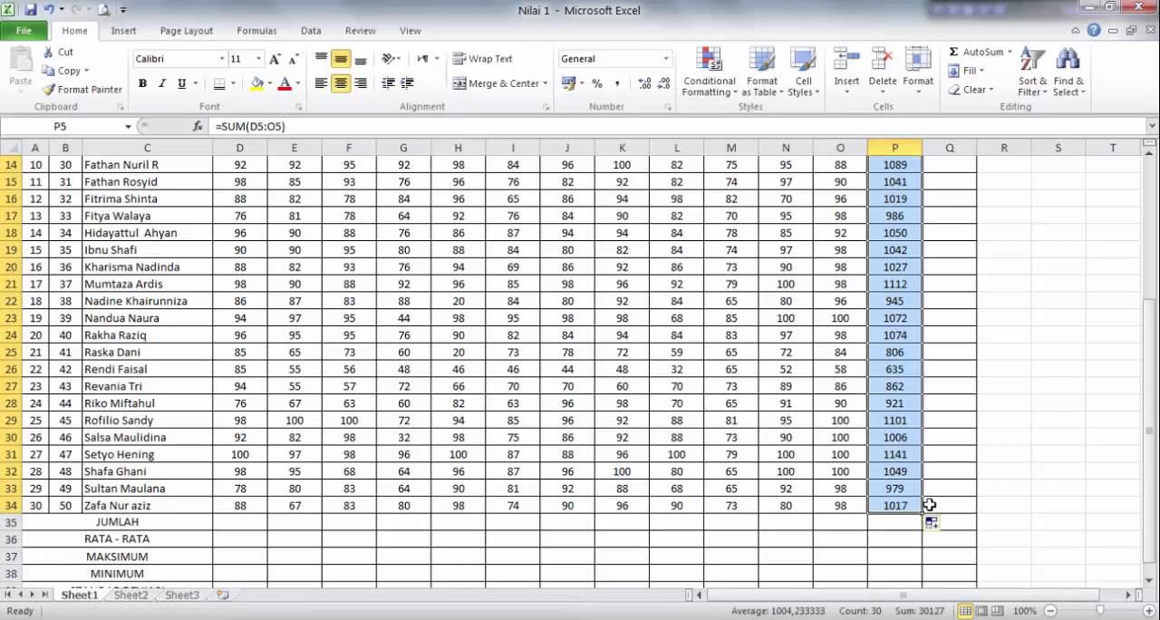 cara menghitung nilai rata-rata dalam microsoft excel