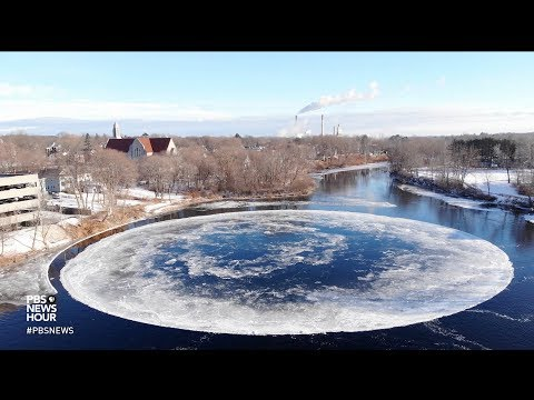 Giant ice disk forms in Maine river, enthralling residents