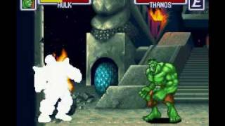 Marvel Super Heroes War of the Gems SNES Nebula And Thanos Final Battles + Ending
